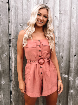 Stay Together Belted Shorts Romper Red Clay CLEARANCE