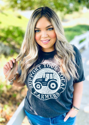 Support Local Farmers Tee Charcoal Curvy