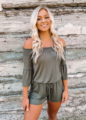 The Easy Life Smocked Off Shoulder Tie Cinched Romper Olive CLEARANCE