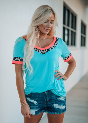 Ready For Life Leopard Neon Trim Top Mint CLEARANCE
