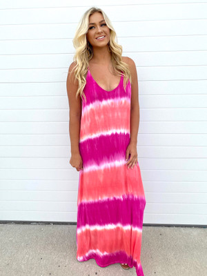 Remember The Time Tie Dye Spaghetti Strap Maxi Dress Pink CLEARANCE