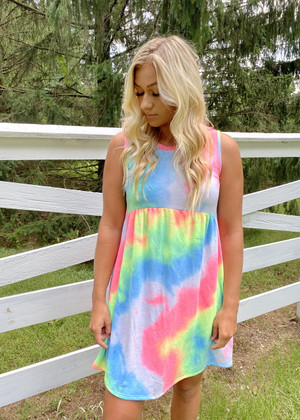 First To Go Around Tie Dye Tank Dress CLEARANCE