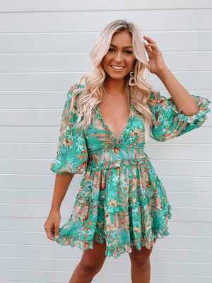 The Whole Day Spring Bloom Puff Sleeve Short Dress Green