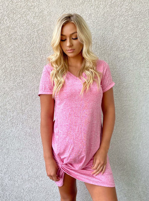 Change His Mind Knotted Dress Pink CLEARANCE