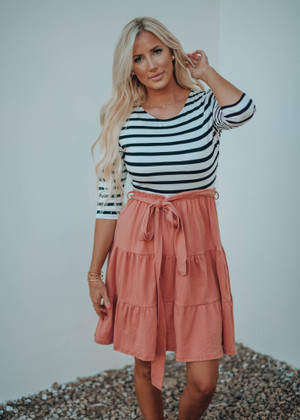 Black and White Stripe Babydoll Ruffle Tie Dress Peach