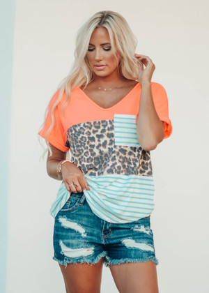 Neon Coral Leopard Colorblock Knit Top with Sage Stripes