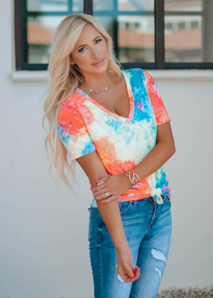 Summertime Tie Dye Jersey Neck Neon Top
