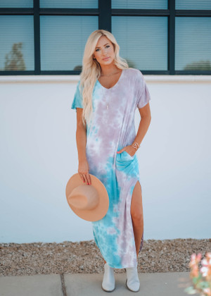 Splash Tie Dye Curved Hem Pocket Dress Blue/Taupe CLEARANCE