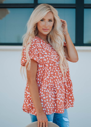 Coral Ruffle Tiered Leopard Top