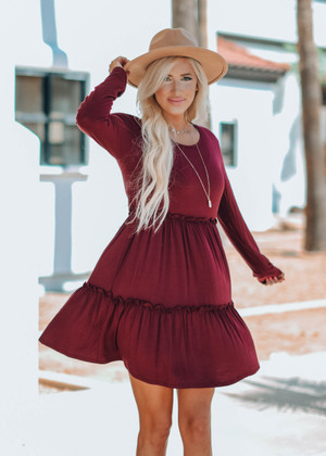 Stealing My Heart Ruffle Dress Burgundy