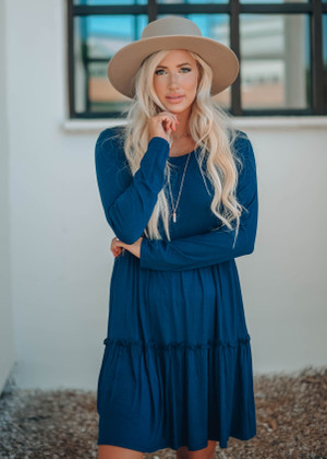 Stealing My Heart Ruffle Dress Navy