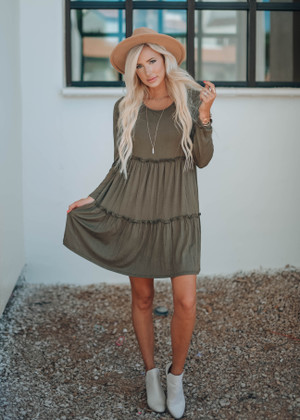 Stealing My Heart Ruffle Dress Olive