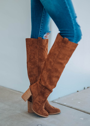 Box Cut Suede Knee High Boot Caramel