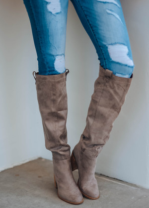 Box Cut Suede Knee High Boot Taupe