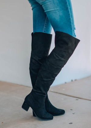 Take My Hand Tall Knee High Boots Black
