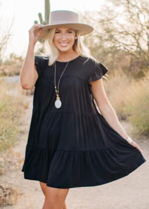 Scoop Neck Tiered Ruffle Dress Black