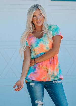 Relaxed Babydoll Ruffle Tie Dye Neon Coral