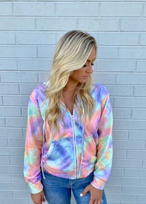 Watch The Sunset Tie Dye Pocket Zip Up Hoodie Purple Pastel