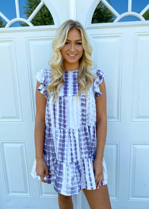 You're Number One Tie Dye Ruffle Trim Dress Grey
