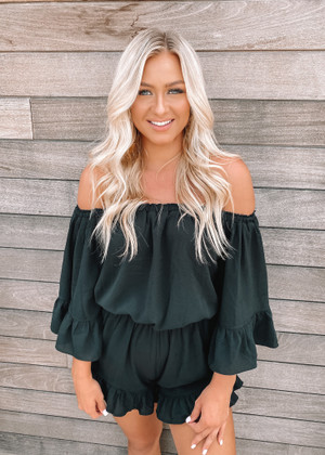 Sky High Ruffle Cinched Romper Black