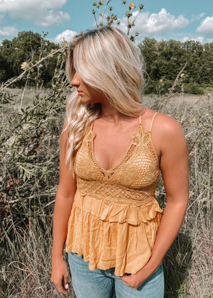 Crochet Lace Detailed Ruffle Tank Mustard CLEARANCE