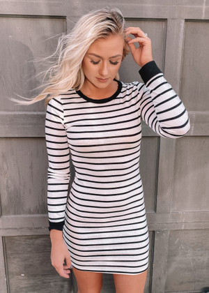 Tight Fitting Striped Long Sleeve Dress White