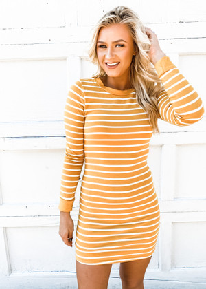 (Cyber Monday) Tight Fitting Striped Long Sleeve Dress Mustard