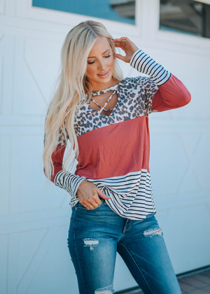 Leopard Criss Cross Colorblock Striped Top Mauve