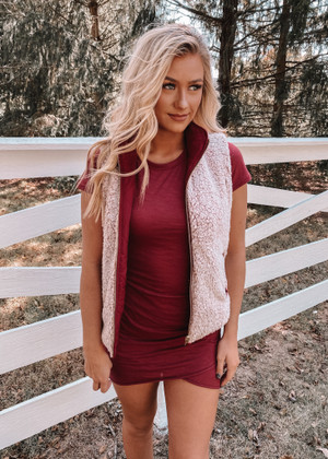 One Of Them Girls Sherpa Reversible Vest Wine