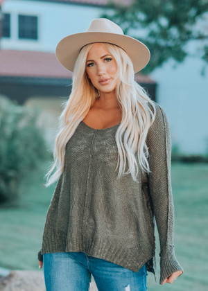 Luxe Slouchy and Lightweight Tunic Top Olive