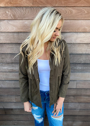 Better With You Cargo Cinched Hooded Jacket Olive