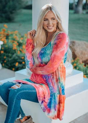 Near To Me Tie Dye Tiered Soft Knit Dress