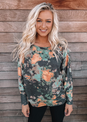 You Are Never Alone Tie Dye Dolman Top Black