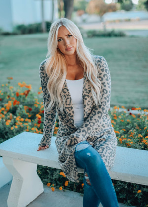 Soft Hearted Leopard Cozy Cardigan Taupe