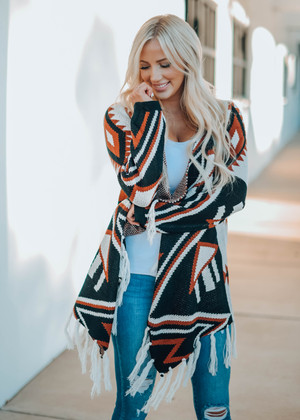 Perfect Aztec Print Open Front Fringed Cardigan Rust