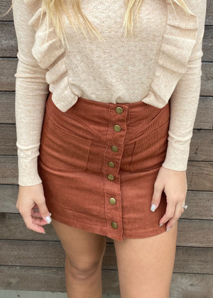 Mini Corduroy Button Front Pocket Skirt Rust