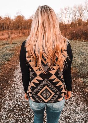 Aztec Back Hooded Vest BLACK