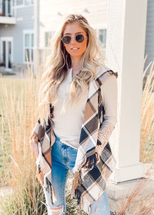 Sweet Times Plaid Fringed Layered Vest Taupe