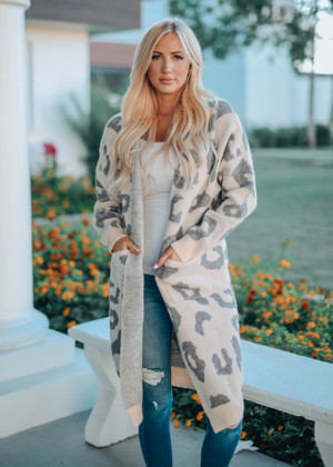 Leopard Print Fuzzy Long Open Cardigan Taupe