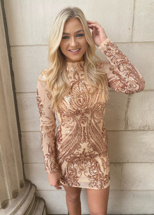 Holiday Sequins Stretch Dress Rose Gold