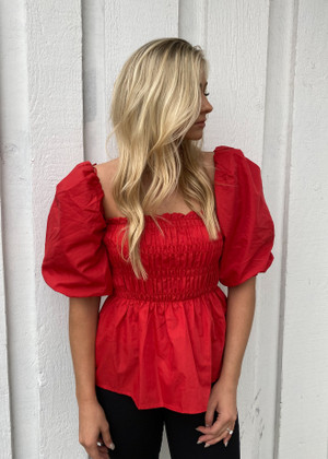 Smocking Balloon Sleeves Cinched Peplum Top Red