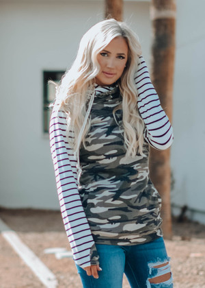 White Striped Double Hooded Hoodie Camo