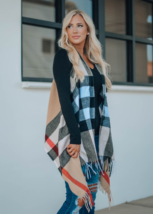 Plaid Pattern Fringed Open Vest Camel