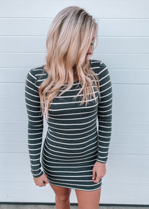 (Cyber Monday) Ticket To Love Tight Striped Dress Charcoal