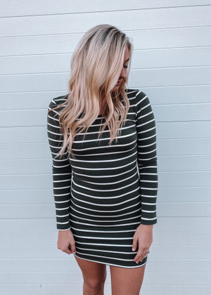 (Cyber Monday) Ticket To Love Tight Striped Tunic/Dress Olive