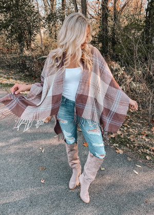 (Cyber Monday) Back in the Swing Plaid Shawl Wrap Beige and Brown