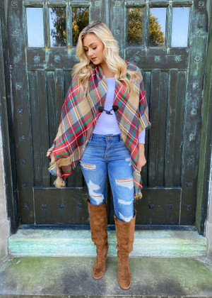 (Black Friday) Classic Flannel Toggle Closure Plaid Poncho Red/Khaki