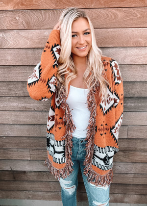 Boho Aztec Pattern Knit Fringed Cardigan Rust