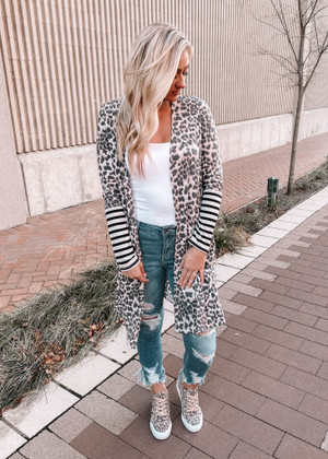 Leopard and Stripes Oh My Contrast Cardigan