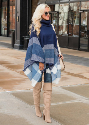 (Black Friday) Fly Me Away Plaid Drape Poncho Navy